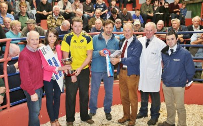 International Miss Macra Sinead Guiney presenting the Supreme Champion Award to Willie and Danny Fehin, Freemount, at the Kanturk Mart Show & Sale, with John Cott, Mart Chairman, Peter O' Connell (Judge), and Sean Ryan and William O' Flynn of Southern Milling (Prize Sponsors). Photo by Sheila Fitzgerald.