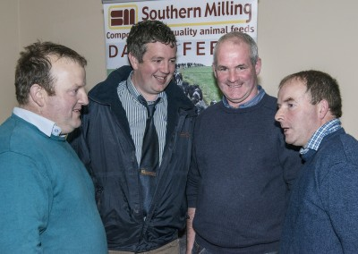 Pictured at the Southern Milling 'Profitable Dairying For The Future Conference' in Corrin Mart, Fermoy are John McNamara, Ballyhea, Padraig Canniffe, Southern Milling, Des Frawley, Bruree & Michael McNamara, Newtownshandrum. Photo O'Gorman Photography.