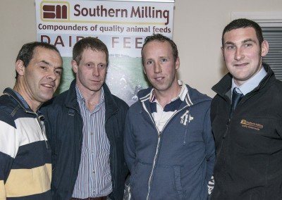 Pictured at the Southern Milling 'Profitable Dairying For The Future Conference' in Corrin Mart, Fermoy are Derry Buckley, Coachford, Tim Buckley, Aghabullogue, Cormac O'Donoghue, Coachford & Noel O'Leary, Southern Milling. Photo O'Gorman Photography. No reproduction fee.