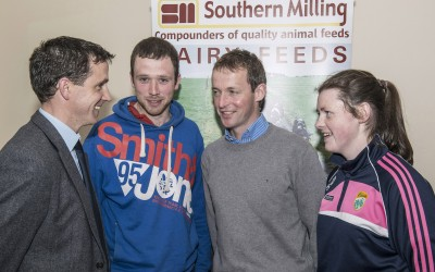 Pictured at the Southern Milling 'Profitable Dairying For The Future Conference' in Corrin Mart, Fermoy are Micheal O'Donovan, Southern Milling, Michael Carey, Donegal, Seamus Hally, Clonmel & Roisin O'Donnell, Clonmel. Photo O'Gorman Photography. No reproduction fee.