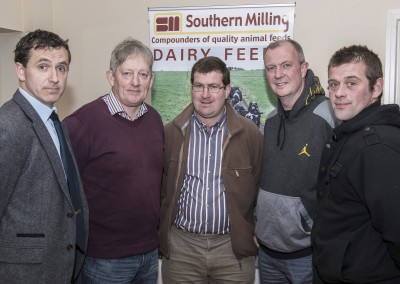 Pictured at the Southern Milling 'Profitable Dairying For The Future Conference' in Corrin Mart, Fermoy are Micheal O'Donovan, Southern Milling, Joe Twomey, Mallow, Michael Geaney, Bweeng, Tom Healy, Clondrohid & David Kelleher, Macroom. Photo O'Gorman Photography. No reproduction fee.
