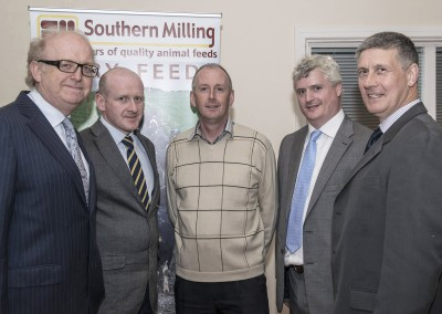 Pictured at the Southern Milling 'Profitable Dairying For The Future Conference' in Corrin Mart, Fermoy are speakers Joe Gill, Goodbody Stockbrokers, Dr Finbarr Mulligan, UCD, Jim Uprichard, Trouw Nutrition, Belfast, Barry Murphy, FDC Group Cork & PJ Hegarty, Southern Milling. Photo O'Gorman Photography. No reproduction fee.