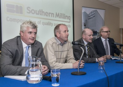 Pictured at the Southern Milling 'Profitable Dairying For The Future Conference' in Corrin Mart, Fermoy are speakers Barry Murphy, FDC Group Cork, Jim Uprichard, Trouw Nutrition, Belfast, Dr Finbarr Mulligan, UCD & Joe Gill, Goodbody Stockbrokers. Photo O'Gorman Photography. No reproduction fee.