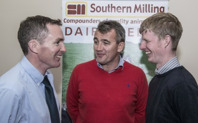 Pictured at the Southern Milling 'Profitable Dairying For The Future Conference' in Corrin Mart, Fermoy are Barry Purcell, Southern Milling, Denis Dalton & Eoin Burke, Chancellors Mills, Kilkenny.  Photo O'Gorman Photography. No reproduction fee.