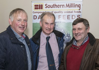 Pictured at the Southern Milling 'Profitable Dairying For The Future Conference' in Corrin Mart, Fermoy are Frances O'Brien, Tallow, Sean Ryan, Southern Milling & Paddy Curtin, Bweeng.  Photo O'Gorman Photography.