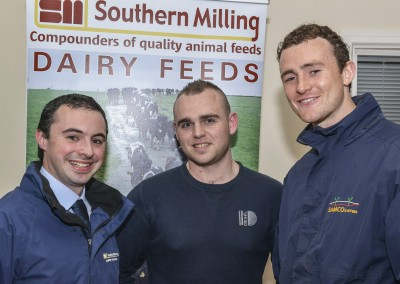Pictured at the Southern Milling 'Profitable Dairying For The Future Conference' in Corrin Mart, Fermoy are William O'Flynn, Southern Milling, Shane Leane, Teagasc & Brendan Keatley, SAMCO.  Photo O'Gorman Photography.