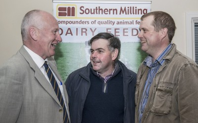Pictured at the Southern Milling 'Profitable Dairying For The Future Conference' in Corrin Mart, Fermoy are Denis Fitzgerald, Southern Milling, Patrick Hegarty, Glenville & James O'Sullivan, Glenville. Photo O'Gorman Photography. No reproduction fee.