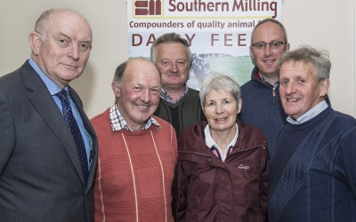 Pictured at the Southern Milling 'Profitable Dairying For The Future Conference' in Corrin Mart, Fermoy are  Pat Mullins, Paul & Vincent, Patrick & Sheila Tobin, Ballincurrig, Mattie Murphy, Glenville, Denis Hickey, Glenville & Derek O'Reilly, Watergrasshill. Photo O'Gorman Photography. No reproduction fee.